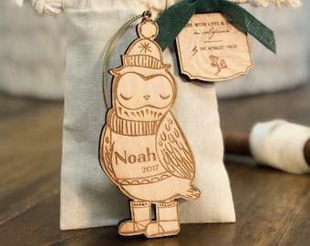 Personalized Baby's First Christmas Ornament | Owl Woodland Ornament | Custom Ornament Personalized with Name and Year