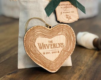 Personalized First Married Christmas Ornament | Wood Ornament Personalized with Name and Year | Just Married | Heart Ornament