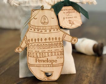 Personalized Baby's First Christmas Ornament | Bear Woodland Ornament | Custom Ornament Personalized with Name and Year