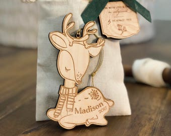 Personalized Baby's First Christmas Ornament | Deer Woodland Ornament | Custom Ornament Personalized with Name and Year