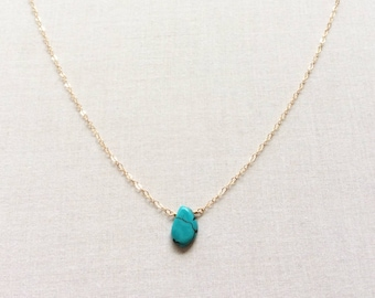 Natural Turquoise Necklace - December Birthstone Necklace - December Birthday Gift - Turquoise Wedding Jewelry - December Necklace GN63
