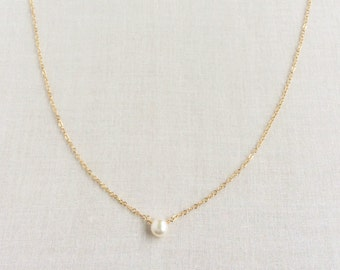 8d9279aca686ab Single Pearl Necklace, Pearl Necklace, Fresh Water Pearl Necklace, Single  Pearl Necklace Gold, Tiny Pearl Necklace,Small Pearl Necklace BN6