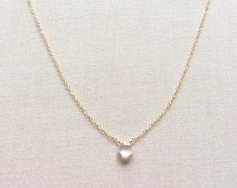 Rose Quartz Necklace, Rose Quartz Jewelry, Rose Quartz Crystal Necklace, Crystal Necklace, Tiny Crystal Necklace, Tiny Rose Quartz, GN13