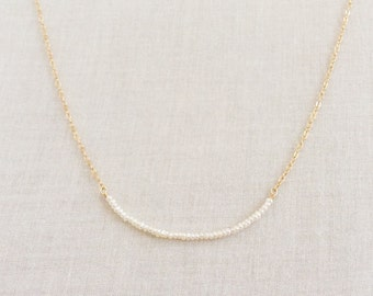 Tiny Pearl Necklace, 1.5 mm Dainty Pearl Necklace, Seed Pearl Necklace, Gold Pearl Necklace, Tiny Gold Pearl Necklace, Pearl Necklace, GBN6