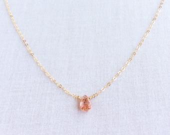 Oregon Sunstone Necklace, Sunstone Necklace, Oregon Sunstone Jewelry, Sunstone Jewellry, 14k Dainty Necklace, Oregon Necklace, Choker,GN48