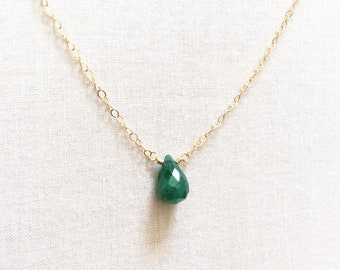 Genuine Emerald Necklace, Emerald Necklace, May Birthstone, 14k Emerald Necklace, Emerald Jewelry, Emerald Necklace Gold, Emerald, BN5