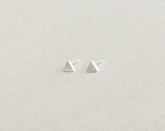 Silver Triangle Stud Earrings - Triangle Studs - Triangle Earrings - Minimalist Earrings - Dainty Earrings - Tiny Geometric Earrings - Studs