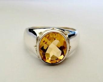 Mens Citrine Ring - Citrine Mens Ring - Silver Citrine Ring - Yellow Citrine Jewelry- Mens Jewelry - November Birthstone