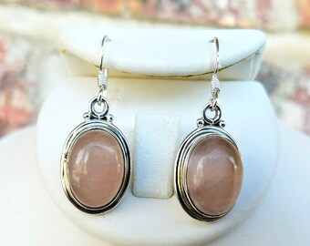 Rose Quartz Earrings -Pink Quartz -Gift for Wife Girlfriend -Light Pink Stone Earrings -Sterling Silver Earrings -Rose Quartz Jewelry