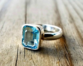 Blue Topaz Ring - December Birthstone Ring - Gemstone Engagement Ring - Sterling Silver Stacking Ring - Emerald Cut Ring