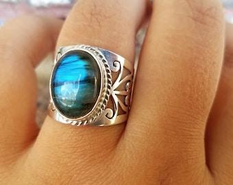 Blue Labradorite Ring -  Cocktail Ring - Handmade Sterling Silver Labradorite Jewelry - Gemstone Tribal Ring