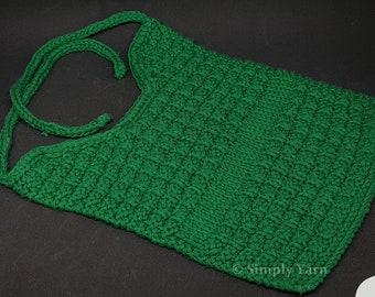 100% Cotton hand-knitted bib