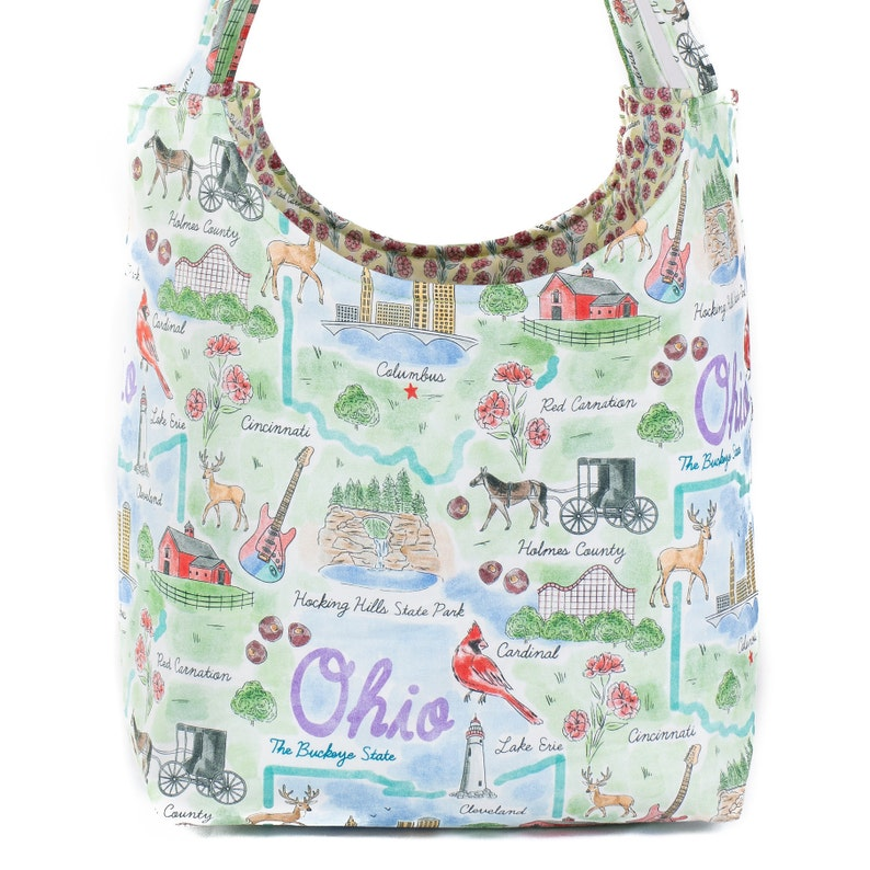 Columbus State of Ohio Mother/'s Day Gift Reusable Bag Buckeye State Fabric Tote Ladies Purse Great Lakes OH Shoulder Bag Ohio Tote