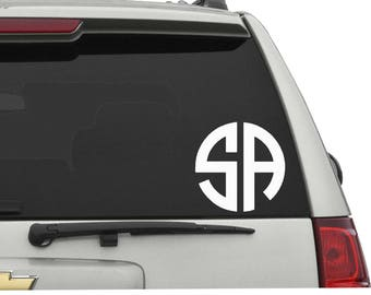 2 Letter Circle Monogram Vinyl Decal/Sticker Choose your Design,Color and Size
