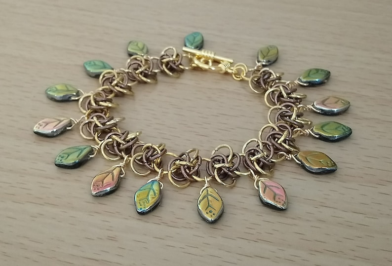 Gold and Copper Plated Persephone Weave Glass Leaf Bracelet