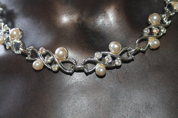 Sarah Coventry Pearl Rhinestone Necklace - image 1