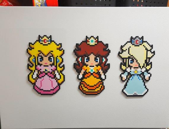 Princess Peach Princess Rosalina Princess Daisy Super Mario Bros Perler Bead Sprite 8 Bit Pixel Art