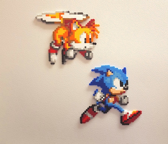Sonic Perler Beads Tails Bead Sprite 8 Bit Pixel Art Etsy