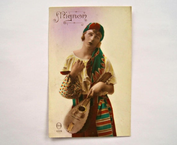 Antique Gypsy Postcard Mignon 609, Made in France, Bohemian Woman with  Mandolin, Vintage French Postcard