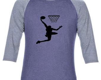 Anvil Adult Tri-Blend 3/4 Sleeve Raglan Basket ball T shirt Tee