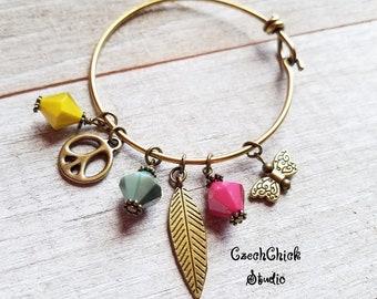 Gift for her Boho Charm Bracelet Brass Bangle Bracelet Feather Bracelet Peace Bracelet Butterfly Bracelet Girlfriend Gift Gifts under 25