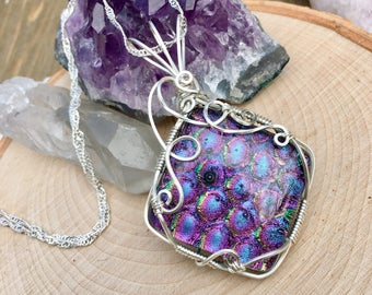 Mermaid Dichroic Glass Necklace Wire Wrapped Pendant, Glass Wire Wrap, Sterling Silver Mermaid Jewelry, Dichroic Fused Glass Glitter Scales
