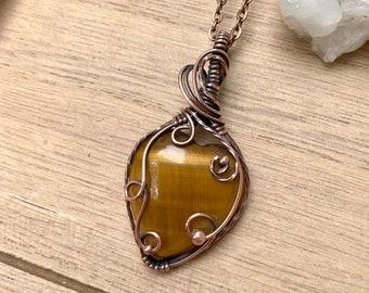 Copper Tigers Eye Heart Necklace, Copper Tiger Eye Jewelry, Copper Wire Wrap, Small Stone Pendant, Tigers Eye Crystal Jewelry, Natural Stone