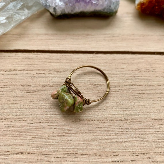 Unakite Wire Wrap Wire Wrapped Ring Round Bead Ring Boho Hippie Rings Unakite Jewelry Unakite Ring Crystal Jewelry Crystal Rings
