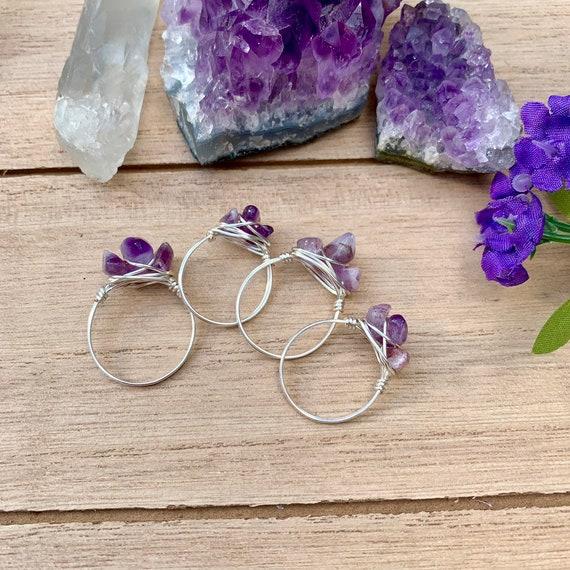 Amethyst crystal rings