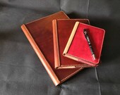 A4, A5 or A6 Luxury British Cowhide Leather Notebook Cover. MADE TO ORDER. Refillable and long lasting. Pockets for extra notes.