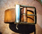 Oak Bark Leather Belt - Natural, Solid, British and Hand-stitched with Double Brass Buckle. 6 colours available.