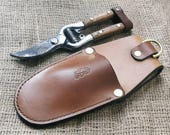 Garden Holster for Secateurs, Pruners or Pruning Saw - tough and long-lasting, hand made in the Uk from British leather