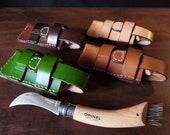 Opinel Mushroom Knife Pouch/Sheath - Sideways belt attachment - Natural European Leather