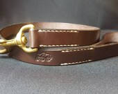 Leather dog lead made from brown bridle leather
