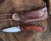 Whitby Pocket Knife and Pouch/Sheath Necklace - Natural European Leather