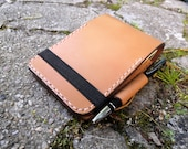 """Small Rite in the Rain Notepad Cover READY TO POST with pen loop, extra pocket and elastic strap - British Leather 3""""x5"""""""