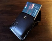 Leather card and bank notes wallet. Pocket size