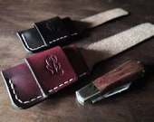 Folding Knife Pouch/Sheath - Sideways belt attachment - Natural British Leather - MADE TO ORDER