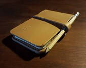 """Small Rite in the Rain Notepad Cover with pencil holder and closure strap - British Leather 3""""x5"""""""
