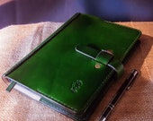 A5 or A6 Luxury British Cowhide Leather Notebook Cover with Closure Strap and Bookmark. Refillable and long lasting. Pockets for extra notes