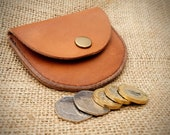Half Moon Coin Purse- Stallion Leather - Light brown. READY TO POST