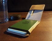 "Small Rite in the Rain Notepad Cover with extra pocket and elastic strap - British Leather 3""x5"""