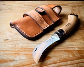Opinel Mushroom Knife Pouch/Sheath - Sideways belt attachment - Natural European Leather