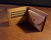 Leather Bifold Wallet for cards, coins and notes - 6 pockets
