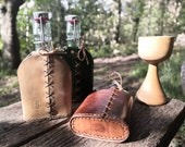 Leather bottle cover for water, gin, wine, spirits. Hip flask. 200ml READY TO POST