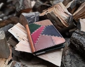 A6 Leather Notebook with Patchwork Cover READY TO POST Refillable and long lasting. Pockets for extra notes.