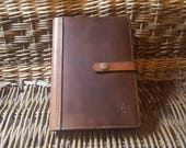 A4, A5 or A6 Luxury British Cowhide Leather Notebook Cover with Press Stud and Bookmark