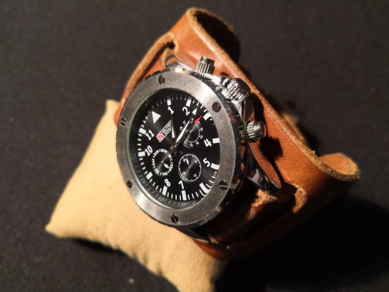 WW2 Replica Military Watch and Oak Bark Tanned Leather watch image 0