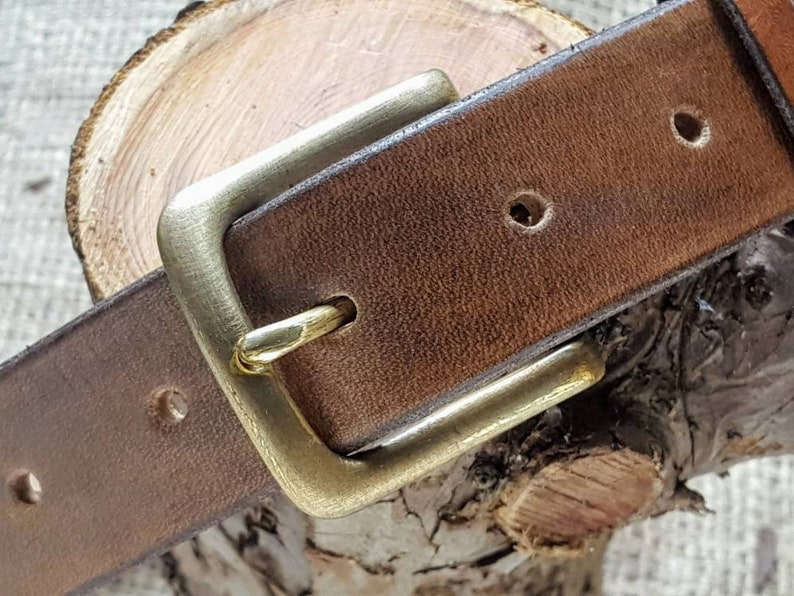 Leather Belts  Natural Solid British and Hand-stitched. image 0