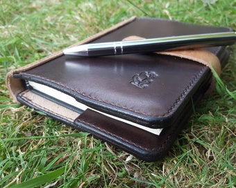 A4, A5 or A6 Luxury British Oak Bark Tanned Leather Notebook Cover with Press Stud and Bookmark